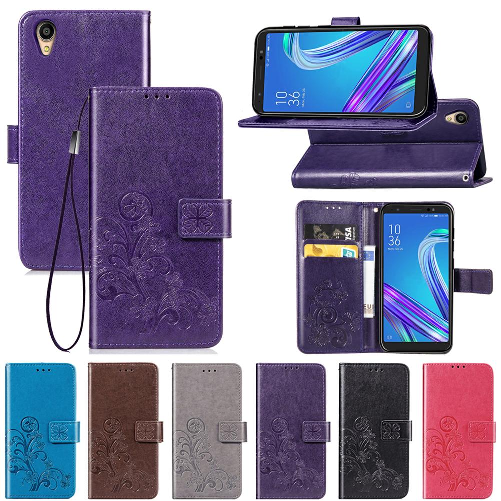For ZenFone Live L1 ZA550KL Case PU Leather Cover Lucky Four Clover with Wallet Card Slot Hand Strap(ZA550KL)