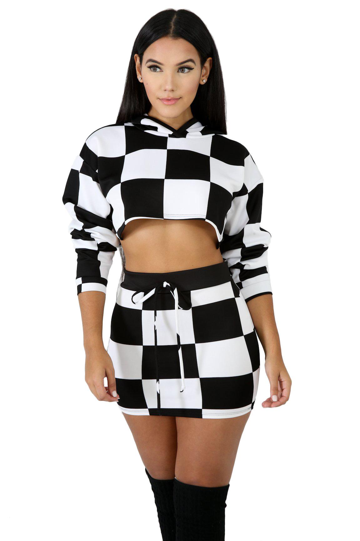 Women Casual Set Mosaic Plaid Print Long Sleeve With Cap Crop Top + Mini Skirts Two Piece Set Bodycon Night Club Suit tracksuit