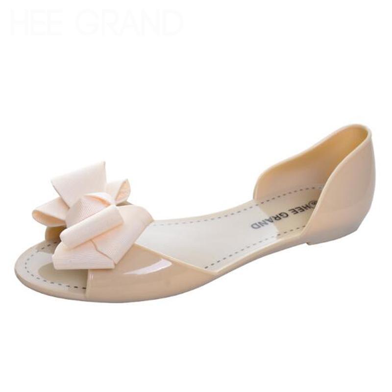 Deslizamento Hot Sale-New Beach Sandals Jelly Shoesknot em planos Casual Calçados Femininos transporte livre