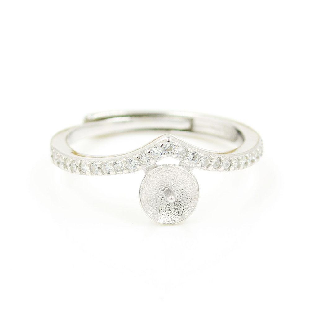 S925 стерлингового серебра кольцо крепления Циркон небольшой V кольцо крепления для женщин ювелирные изделия из жемчуга diy бесплатная доставка регулируемый открытие кольцо