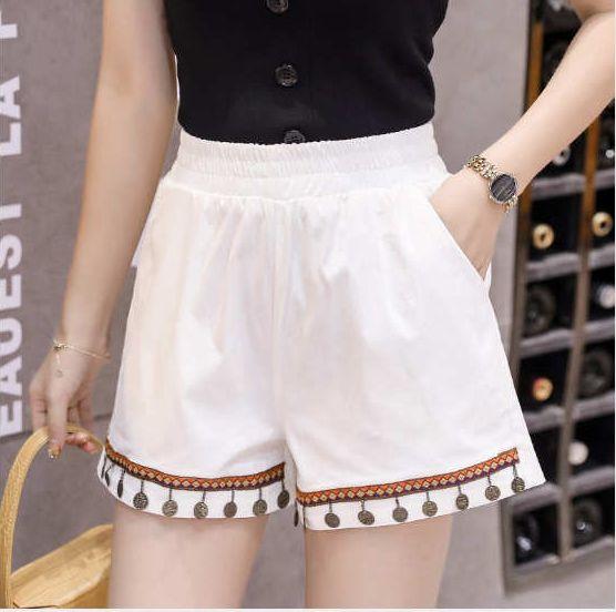 2019 Verão Womens Designer Shorts Coreana De High Elastic lavagem com água soltas Casual Shorts Verão ZY-VV8520