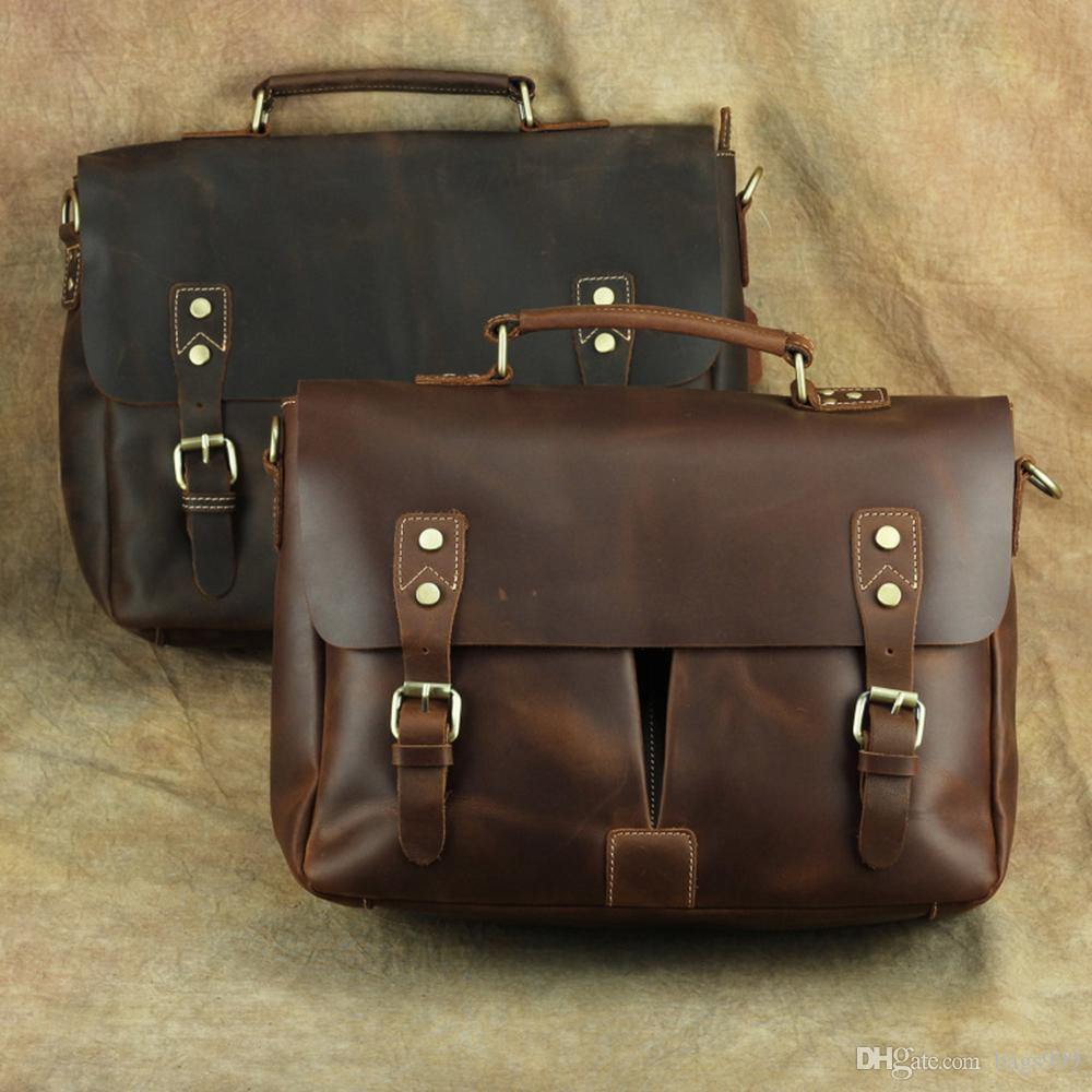 New Vintage Men Leather Business Briefcase Messenger Bag Travel Luggage Bag New