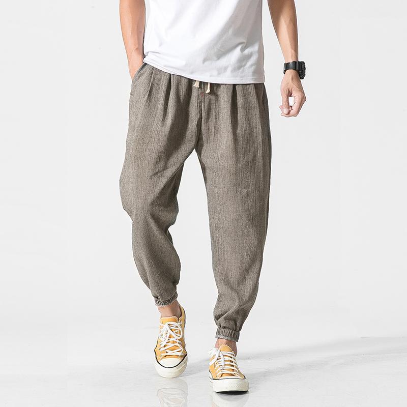 Pamuk Keten Günlük Harem Pantolon Erkekler Koşucular Man Yaz Pantolon Erkek Çince Style Baggy Pantolon 2020 Harajuku Çamaşır