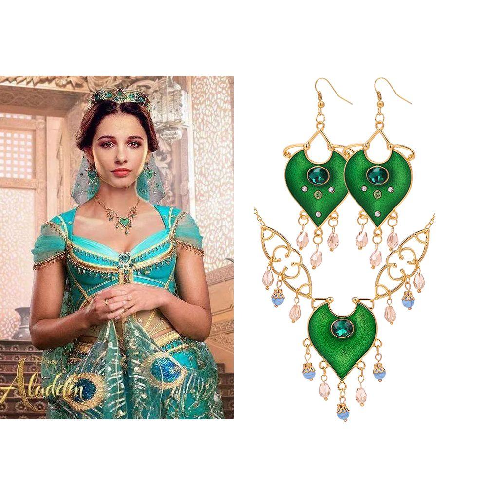 Aladdin Film-Schmuck-Set NecklaceEarrings Cosplay Prinzessin Jasmin Anhänger Kette für Frauen Ohrringe Frauen Accessoires