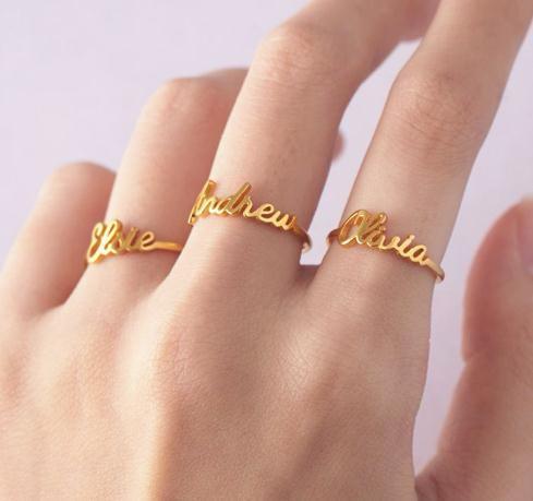 2020 Пользовательские Имя Кольцо стекируемые Кольца Персонализированные Minimal ювелирных изделий на заказ слова Кольца Для двоих детей Kid