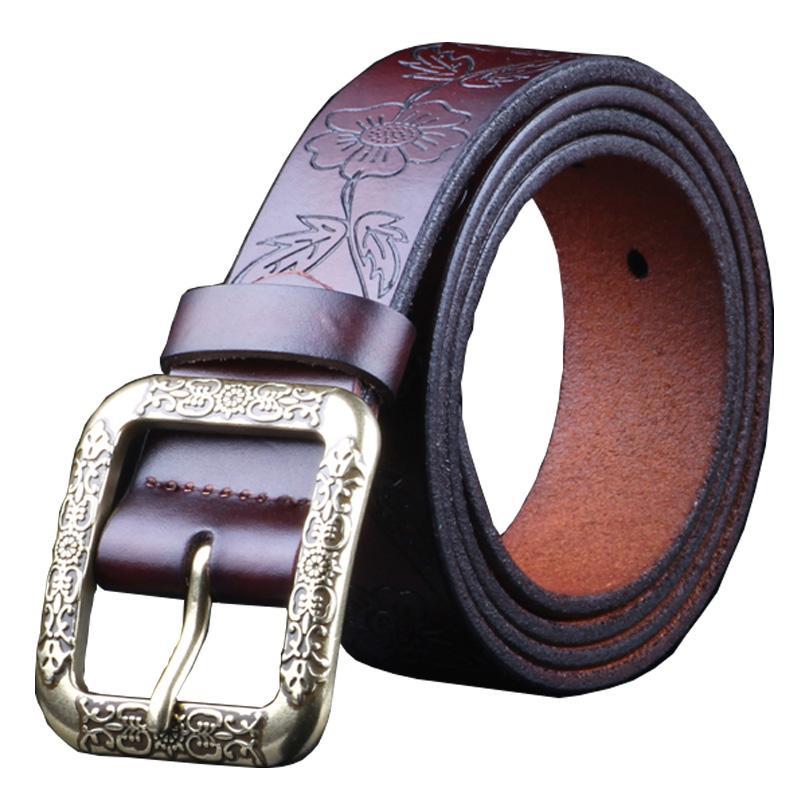 Moda cinturones de cuero genuino para las mujeres correa Vintage cinturón floral Calidad hembra segunda capa de piel de vaca para los pantalones vaqueros de la anchura de 3,2 cm