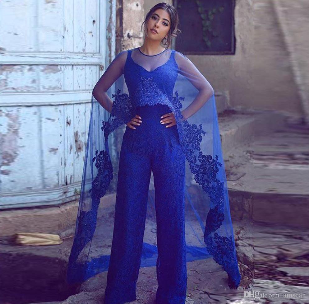 Royal Blue Lace комбинезон Вечерние платья с Wrap 2019 Кружева Аппликации Бисер брючный костюм Vestidos De Fiesta Формальные Пром партии Gowns