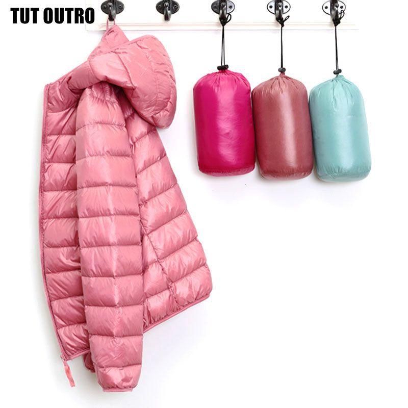 Женщины ультра легкий пуховик с капюшоном зимой утка вниз пальто женщин Теплые легкие утепленная Мягкие Женщины Верхняя одежда Верхняя одежда 541 SH190930
