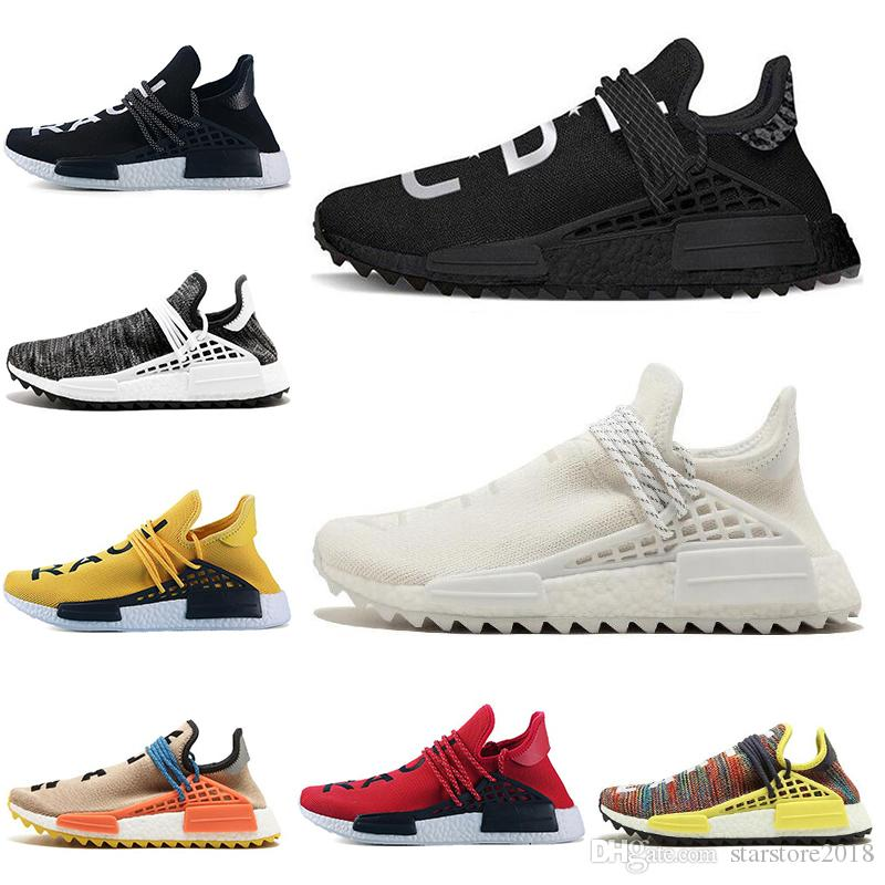 Human race Hu trail x pharrell williams Nerd men running shoes white Black yellow lace Equality mens trainers for women sports sneaker