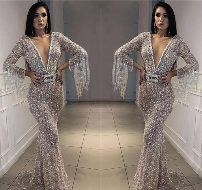 2019 pas cher argent Paillettes robe de bal décolleté en V Neck manches longues Pageant jours Graduation Wear Party robe de soirée Custom Made Plus Size