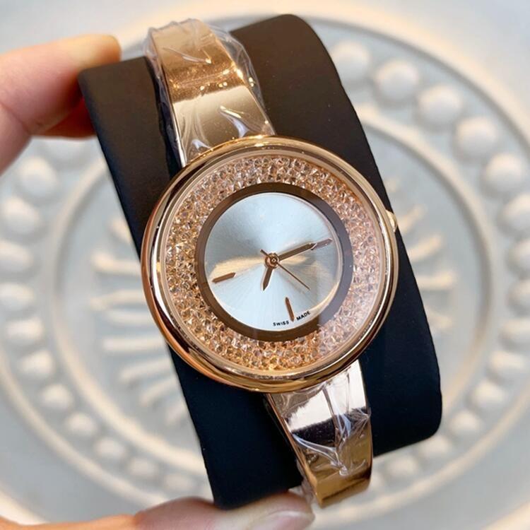 En kaliteli Yeni stil Moda Kız Çelik şerit lüks 32mm kadınları saatler Kuvars İzle Feminino Montre Femme Relogio saatı saatler