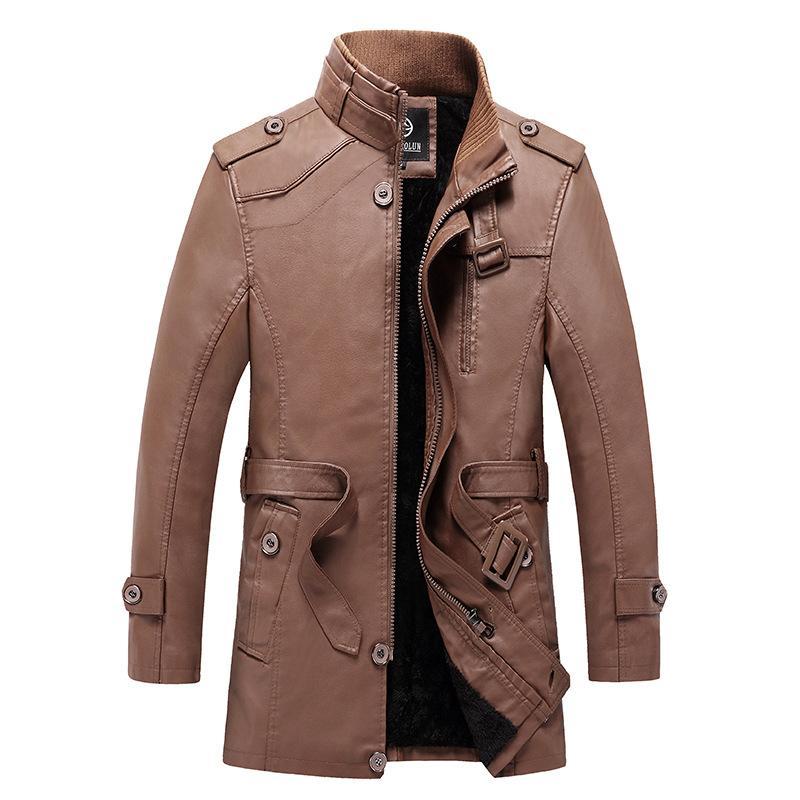 Inverno più spessa velluto cappotto del rivestimento in pelle da uomo verdastro blu di mezza età casuale di lunghezza media caldo cappotto del cotone di lunghezza media