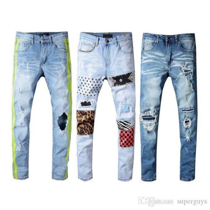 Mens Distressed zerrissene Jeans-Designer-Marken-Schwarz Jeans dünne zerrissene Zerstörte Stretch Slim Fit Hop Hop Hosen JS34