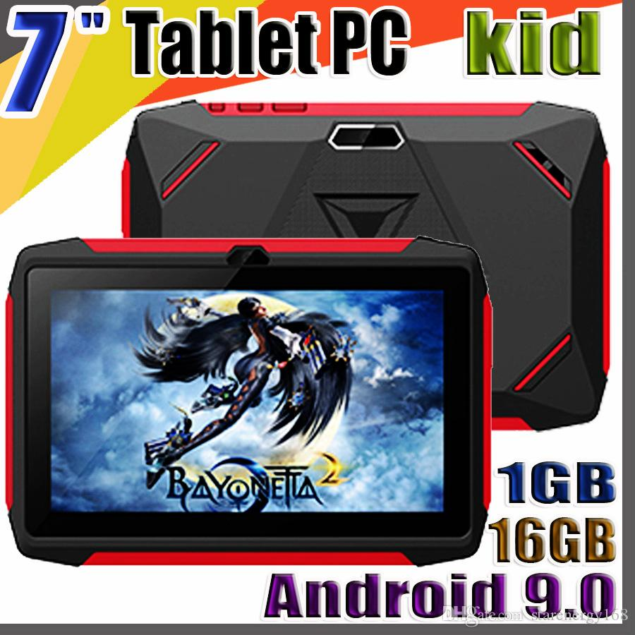 168 مجانا DHL طفل اللوحي Q98 رباعية النواة 7 بوصة 1024 * 600 HD شاشة الروبوت 9.0 AllWinner لA50 الحقيقي Q8 1GB RAM 16GB مع واي فاي بلوتوث