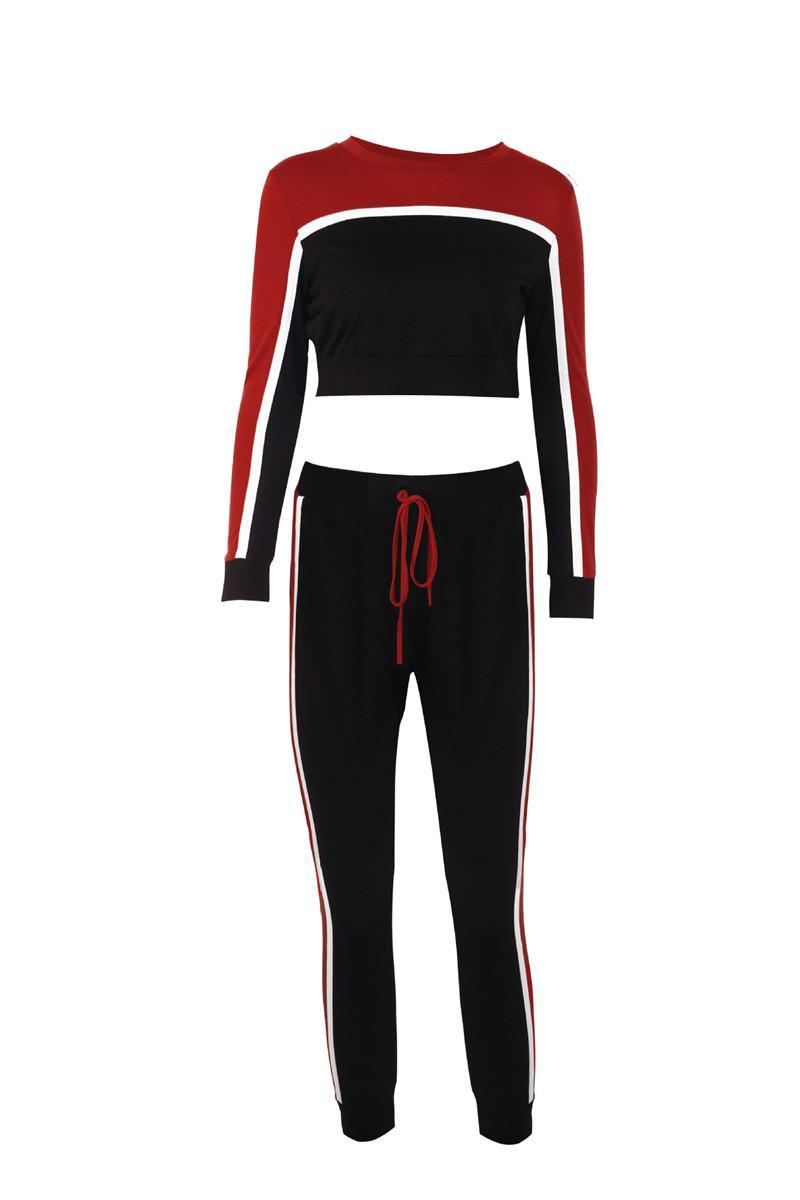 Mode lambrissés Femmes Survêtements Femmes Casual Deux pièces Vêtements Designer Contraste col rond couleur Costume Sport