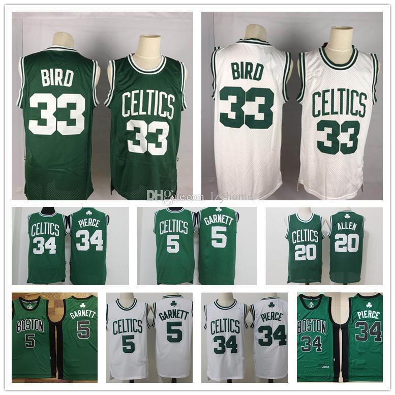 Vintage BostonCeltics Paul Pierce 34 Jersey Larry 33 uccello Kevin Garnett 5 KG Bill Russell 6 Ray Allen 34 Basketball Maglie