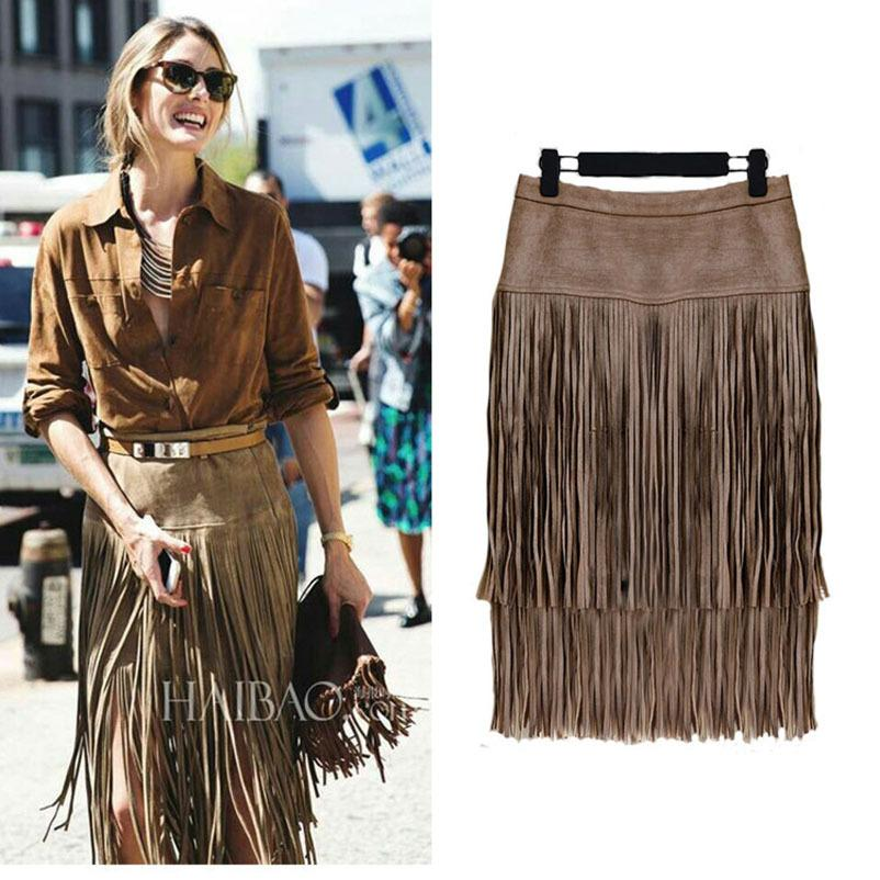 Moda Saias Vintage New pesado hierárquica de cintura alta de couro saia reta franjada Suede Tassel Saias Saias Womens