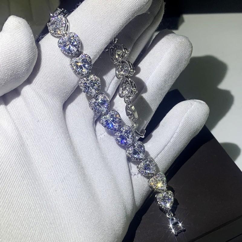 Klasik Moda Takı 925 Ayar Gümüş Armut Kesim Beyaz Topaz Simüle Elmas Taşlar Kalp Kadınlar Düğün Gelin Bilezik Hediye