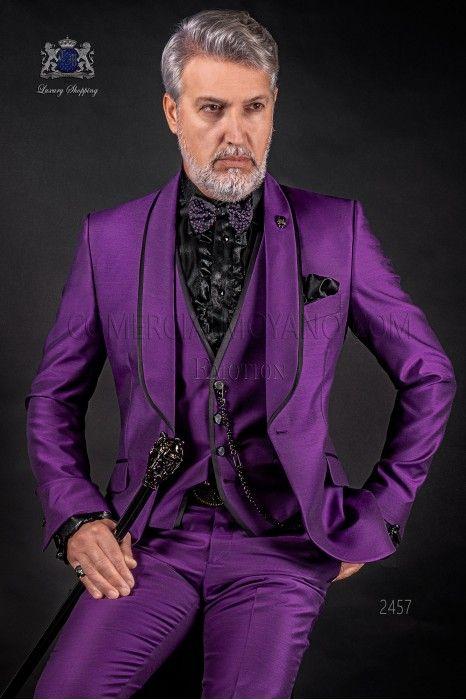 Мода Фиолетовый Жених Смокинги Шаль Лацкан Жениха Мужские Свадебные Платья Популярные Человек Куртка Блейзер 3 Шт Костюм (Куртка + Брюки + Жилет + Галстук) 990