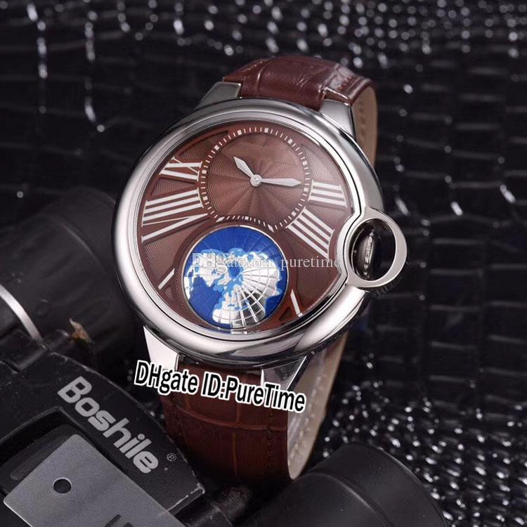 Nuovo stile cassa in acciaio mondo globo marrone quadrante grande Roma Mark Autoamtic orologio maschile marrone sport orologi 4 colori signore di alta qualità economico B21a1