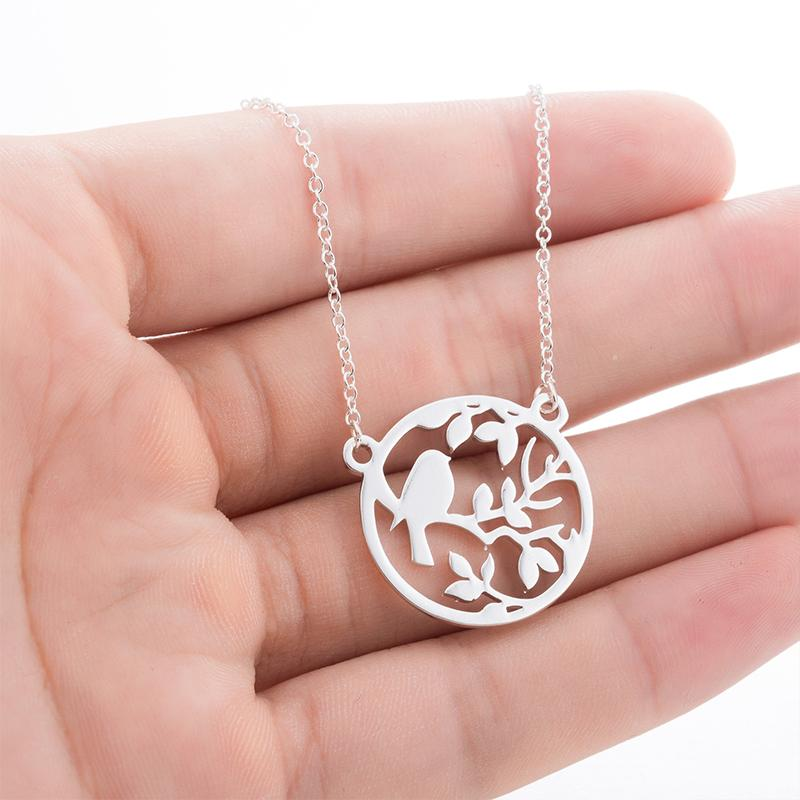 silver simple tree necklace womens round bird pendants stainless steel jewelry on the neck gold chains necklaces 2020 wholesale