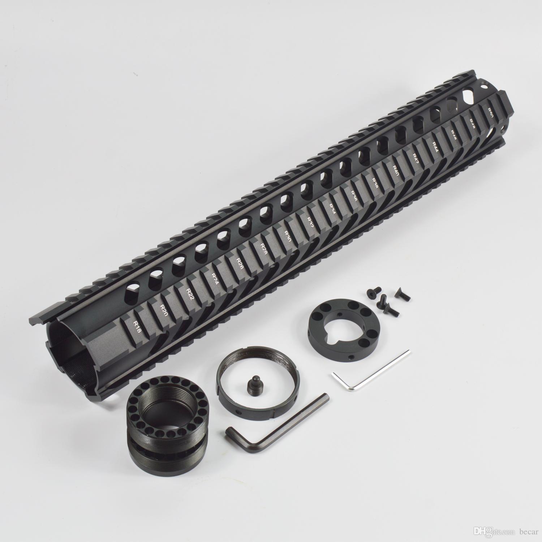 전술 T-시리즈 15 인치 무료 플로트 쿼드 레일 총열 덮개 피카 티니 레일 시스템 Forend Fits.223 / 5.56 유형 블랙 컬러