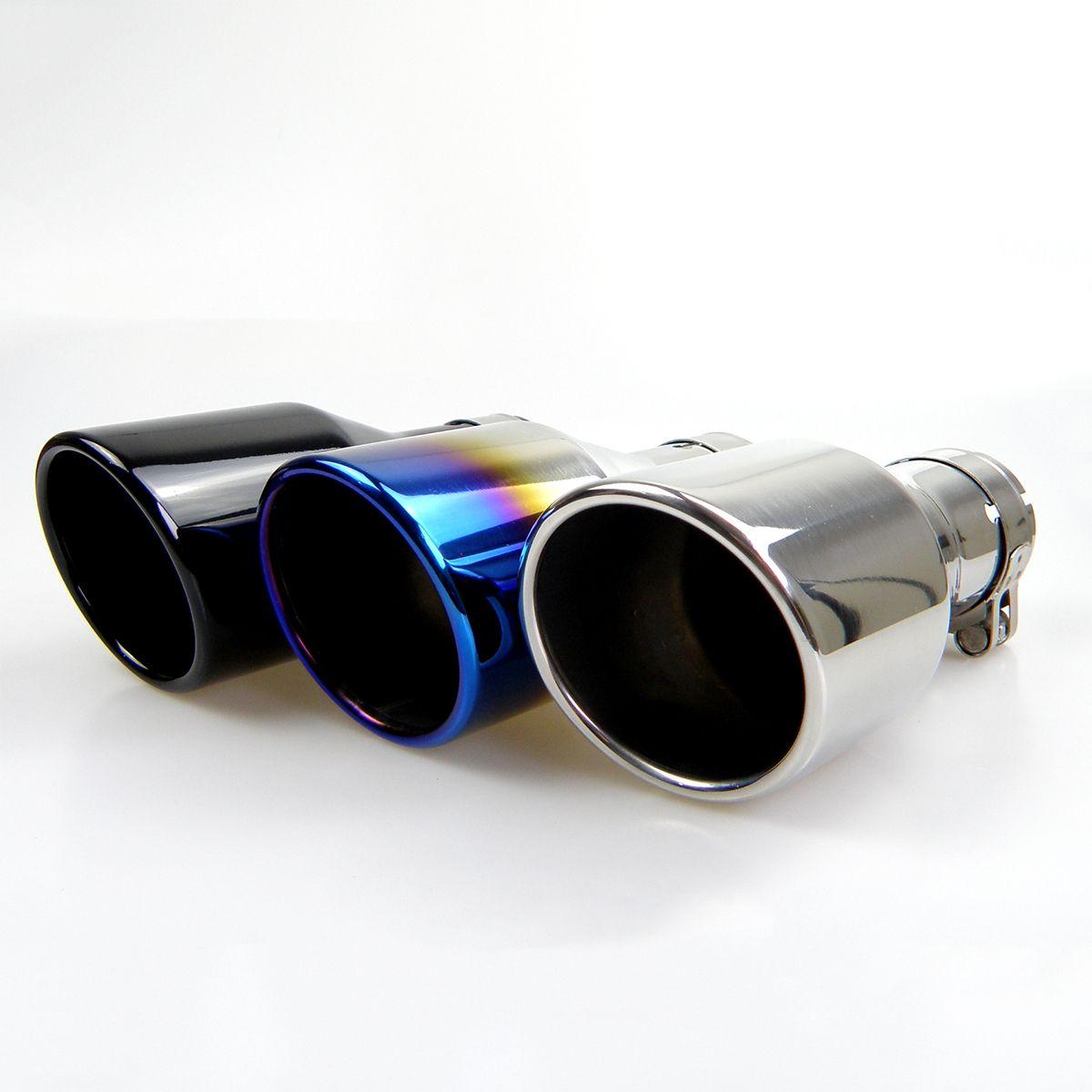 Kipalm السيارات العالمي ماسورة العادم الخمار تلميح الأزرق / أسود / فضي اللون مميل نهاية 304 51mm الفولاذ المقاوم للصدأ مدخل لزينة السيارات