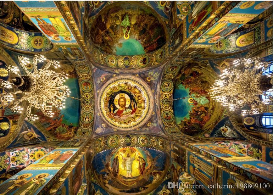 ангел потолок европейской роскошь классической трехмерной крыша потолка искусства росписи 3d обои 3d обоев для телевизоров фона