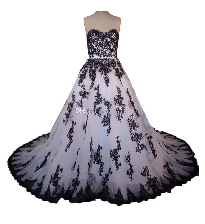Vestido De Noiva Sweetheart Bianco e nero abito da sposa reale abiti da sposa con Immagine Appliqued merletto nero abiti da sposa robe de Mariage