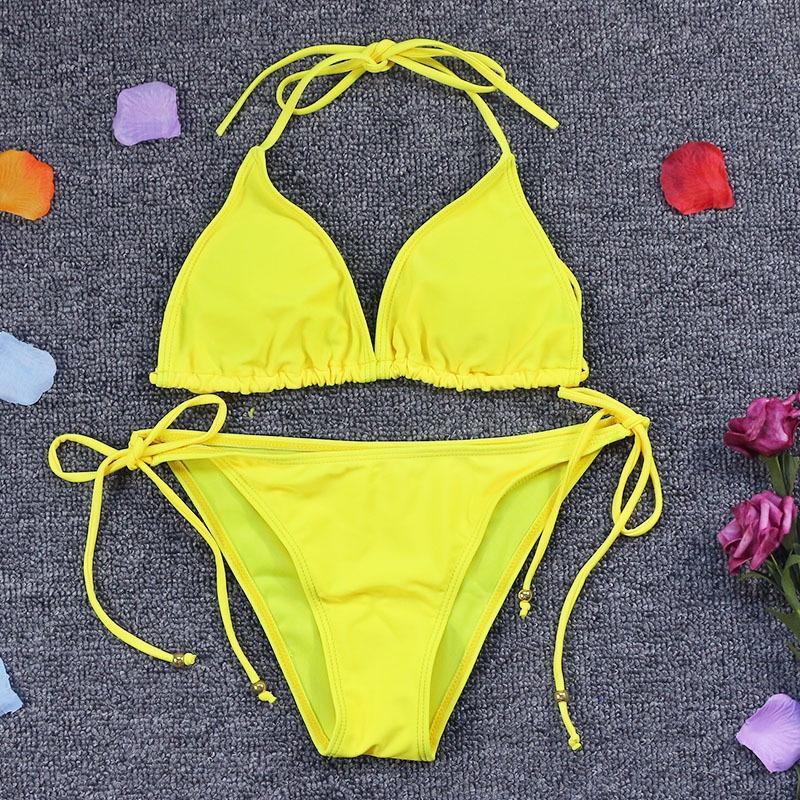 CrnaY 2019 nuovo colore sexy di spaccatura diviso nuovo costume da bagno bikini sexy bikini 2019 di colore solido del costume da bagno solido