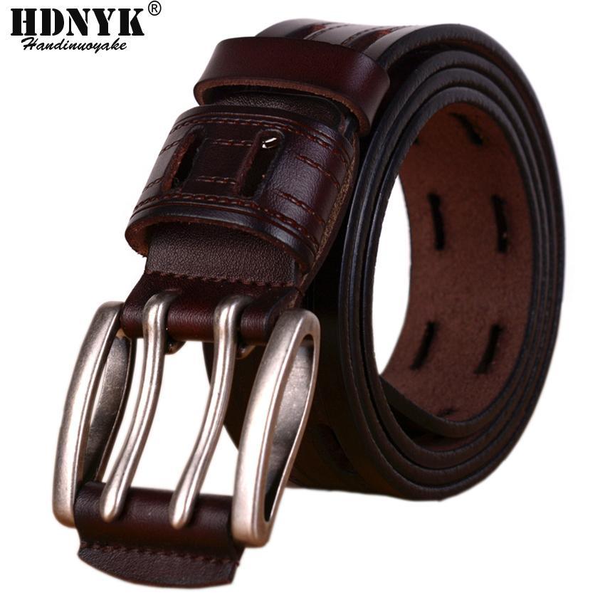 100% de alta qualidade cintos de couro genuíno para homens Marca Strap Male Pin Buckle Fantasia Jeans Vintage Cowboy Cintos T200511
