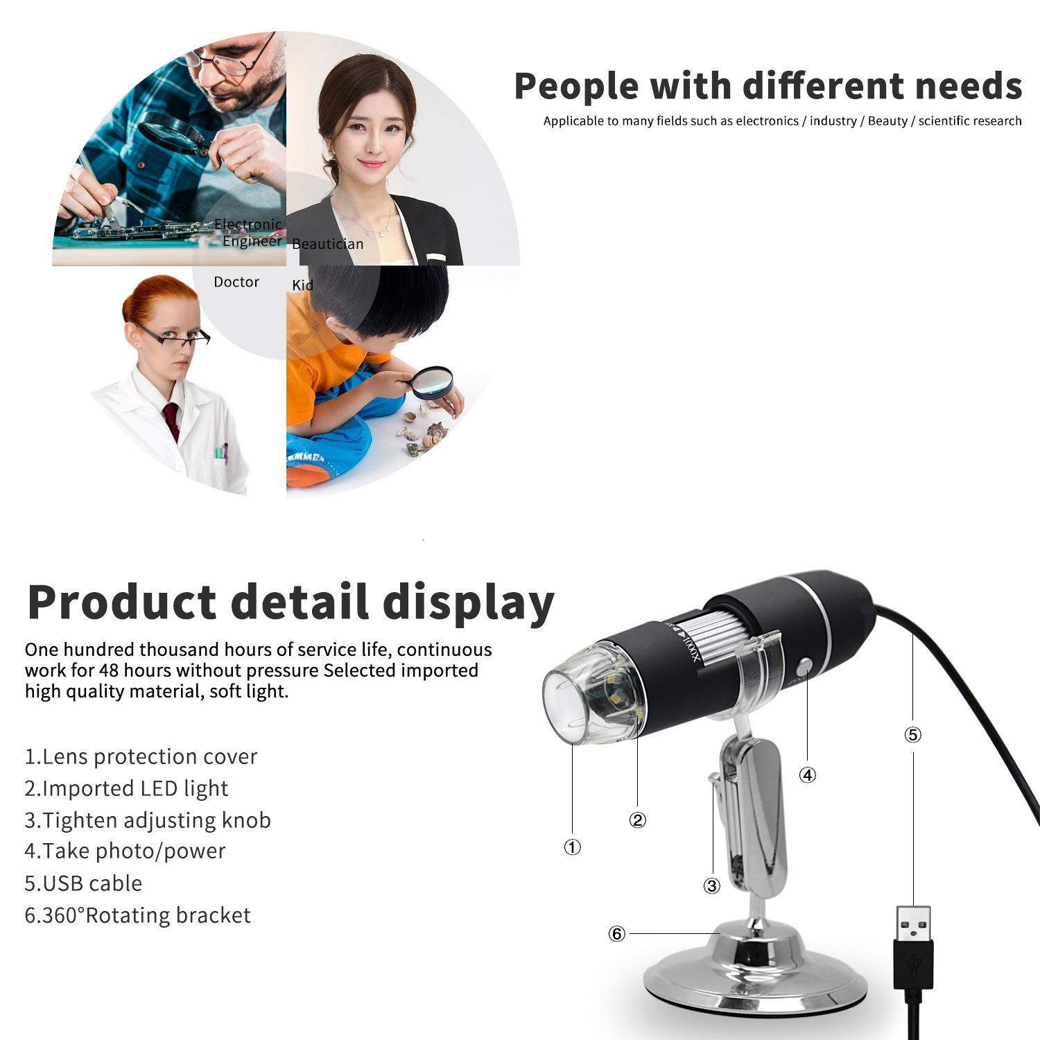 1000X 8 LED USB Magnification Endoscope Digital Microscope Mini Camera with OTG Adapter and Metal Stand