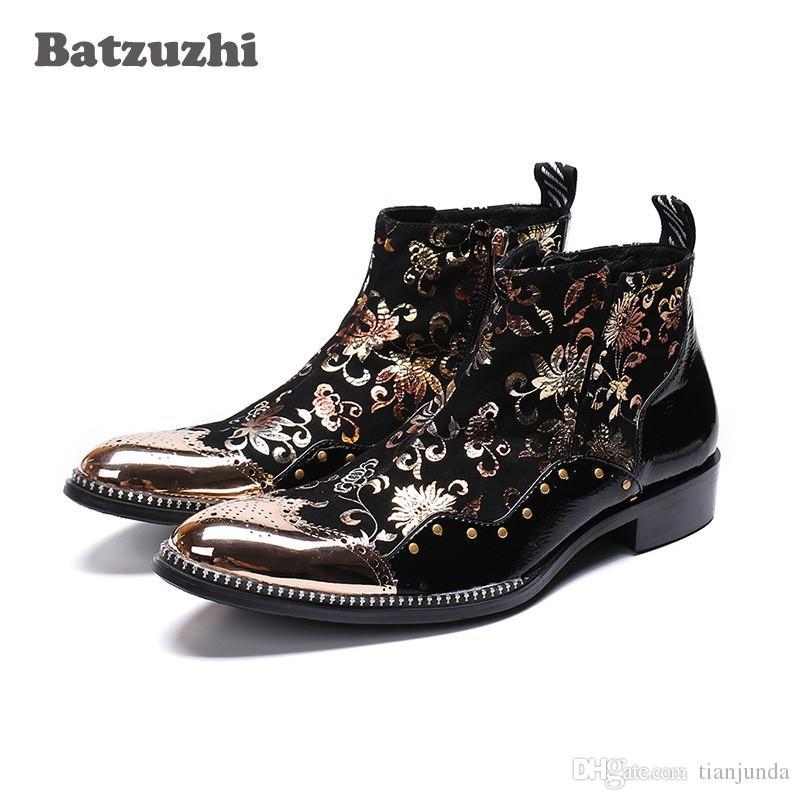 Batzuzhi tipo italiano uomo scarpe punta in metallo punta stivaletti in pelle nera Botas Hombre partito prom partito stivali uomo, US6-12