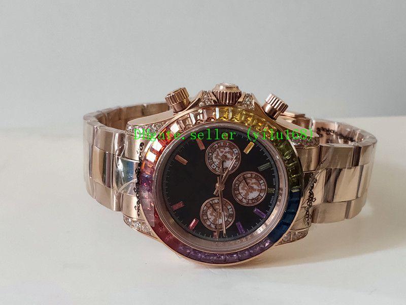 2019 Стиль мужские часы 40mm 116595 RBOW Rainbow No Chronograph 116595 Бриллиантовый ободок Черный циферблат из розового золота с полосой Механический автомат