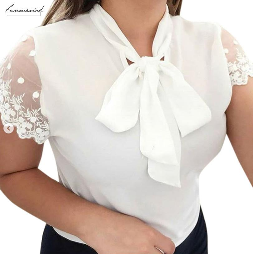 Lace Blouses Women 2020 Summer Work Office Top Cap Sleeve Solid Bow Tie O Neck Short Sleeve Chiffon Shirt Blouse Slim Top