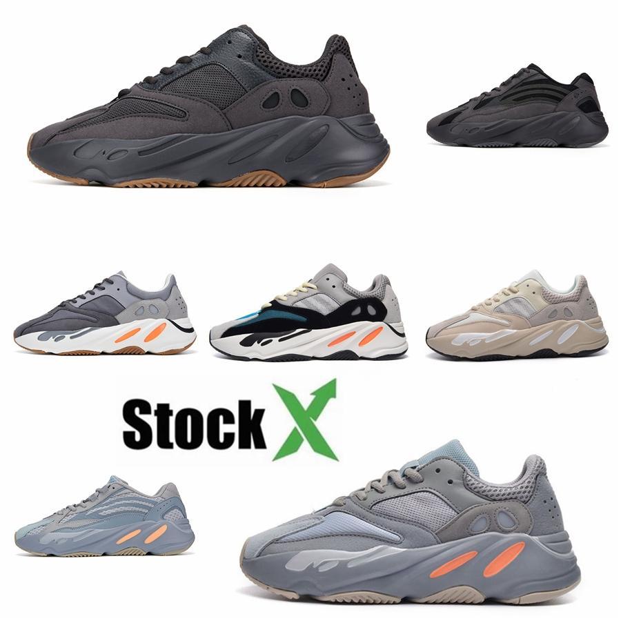 Nouvelle arrivée Teal Aimant bleu Kanye West 700 V2 Hospital Hommes Chaussures de course Bleu Geode Hommes Femmes coureur de vague de sport Chaussures de sport # Mauve QA433