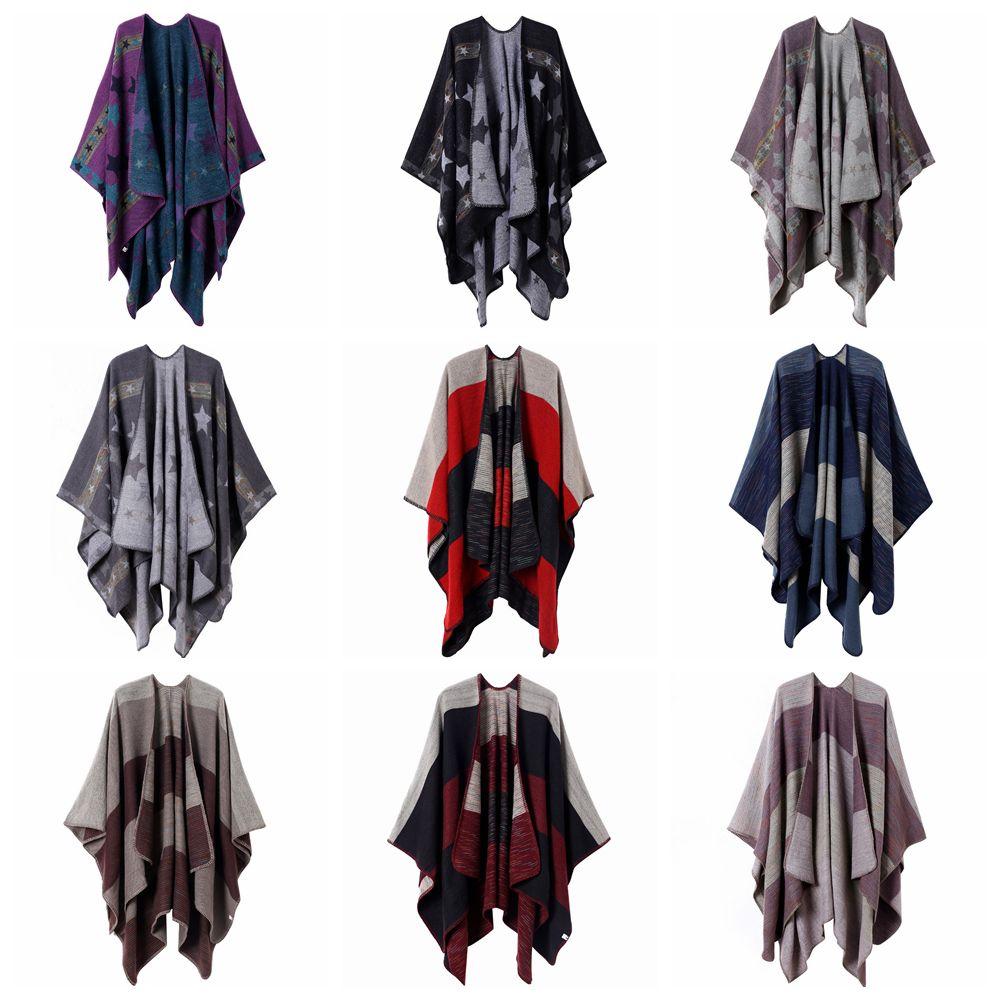 10Styles Plaid Star Poncho Sciarpa Tartan Inverno Capo Grid Scialle Scialle Cardigan Cloak Tassel Wraps Girl Knit Sciarpe Cappotto Cappotto Cappotto Coperte FFA2874-1