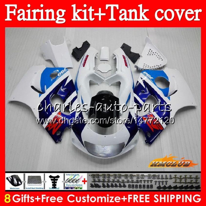 Cuerpo + tanque para SUZUKI GSXR 600 SRAD 750 GSX R750 R600 GSXR750 64HC.7 GSXR600 96 97 98 99 00 1996 1997 1998 1999 2000 azul nuevo carenado blanco