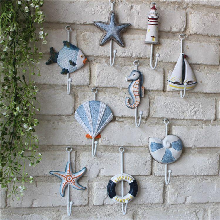 Sıcak satış Akdeniz tarzı kanca ceket şapka ferforje kanca duvar rafı kapı kat kanca duvar ev dekorasyonu montaj