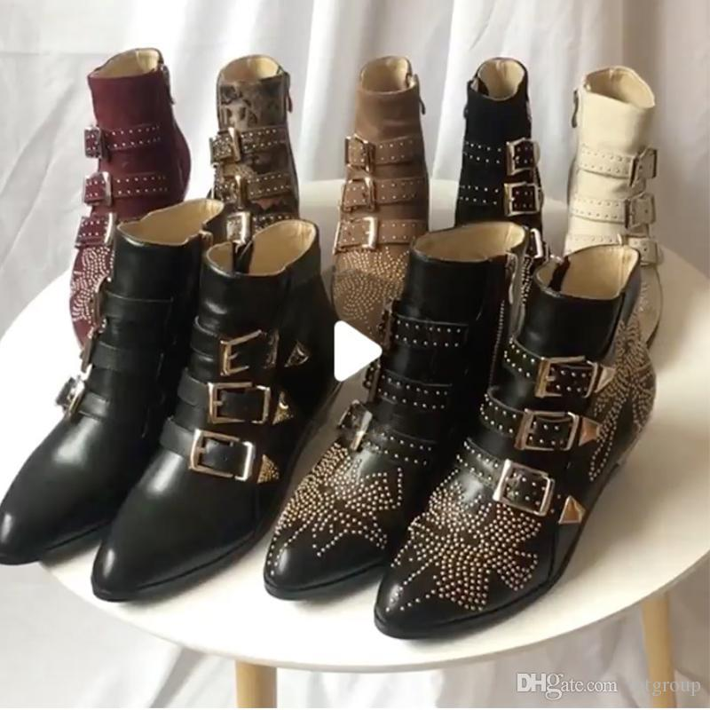 Luxo Susanna Studded Buckle Botas para mulheres Martin botas de inverno de couro Genuine Suede grife botas robustas botas de salto de combate