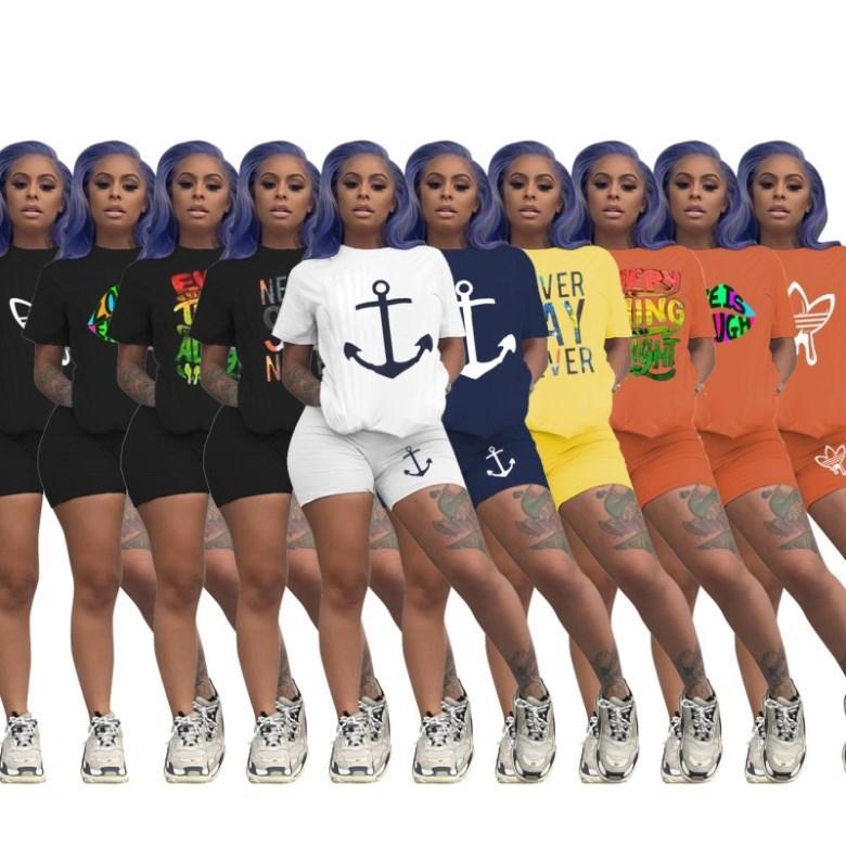 Womens outfits short sleeve 2 piece set tracksuit jogging sportsuit shirt shorts outfits sweatshirt pants sport suit hot selling klw3884