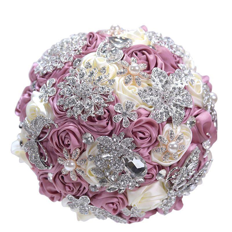 YFMYhandmade fita cor de rosa marfim rosa escuro Alloy broches de diamantes casamento buquê com grande strass e pérolas noiva segurando flores 20 * 25 centímetros
