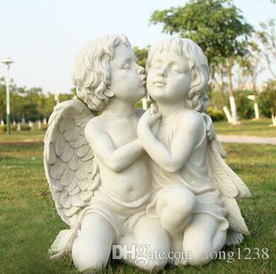 Белый Фон Поцелуи Любителей Смолы Скульптура Ангела Ремесло Виллы Курс Сады Творческий Статуя