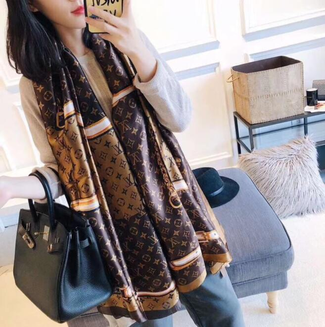 Nova 2019 desgin lenço de seda da marca por Mulheres 2019 Primavera de moda lenços longa Enrole estilo popular 180x90Cm Xailes frete grátis