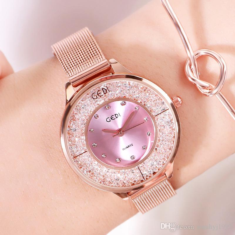 GEDI Reloj de lujo con diamantes de lujo para damas, tendencias coloridas Moda Casual Simple Temperamento Reloj para estudiantes