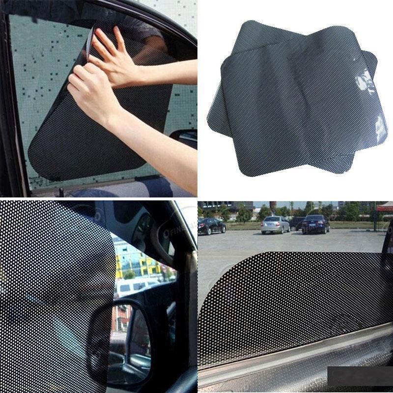 2 개 자동차 커튼 자동차 사이드 뒷 유리 태양 그늘 정적 집착 태양 보호 바이저 쉴드 사이드 윈도우 필름 UV 보호 커버