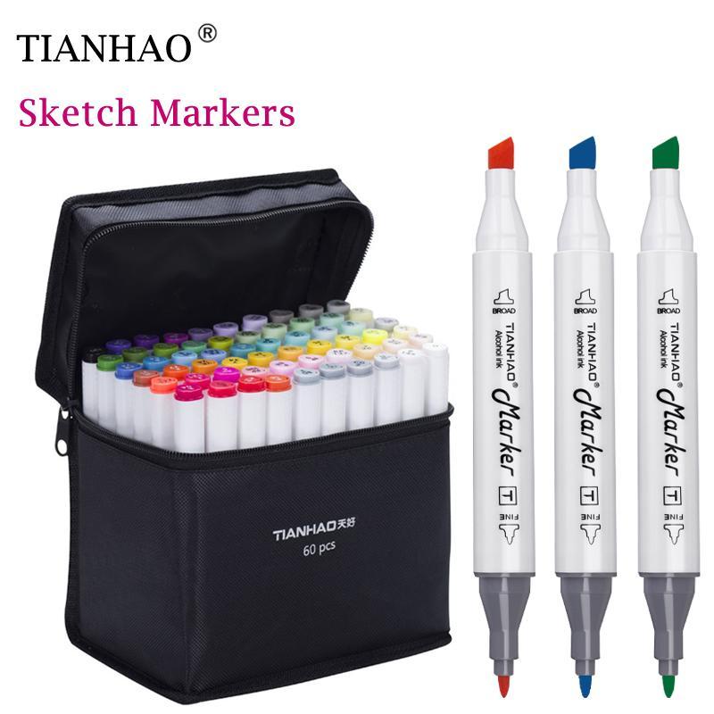 Tianhao Art Marker Set Dual Head Artist Sketch Alkoholbasis Marker für Animation, Manga Design Stift Supplies Wasser-Farben-Pens