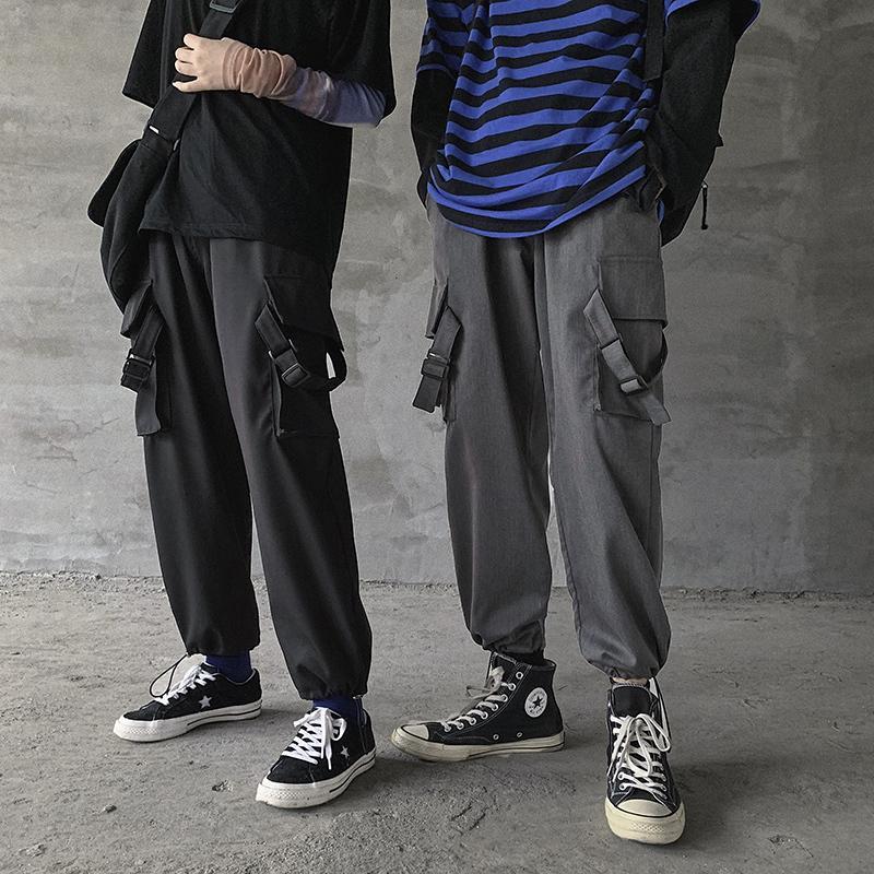 2020 printemps et en automne Nouvelle jeunesse populaires Solide Couleur sauvage multi-poches Pantalon droit Mode loose Pantalons simple Noir / Gris