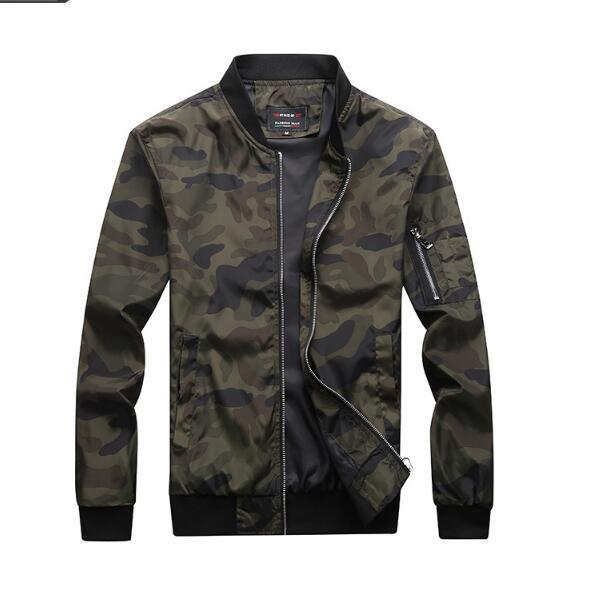 Большой размер камуфляж мужские куртки осень новый мужской корейской версии куртка внешнеторговый стенд воротник тонкий камуфляж Верхняя одежда Пальто
