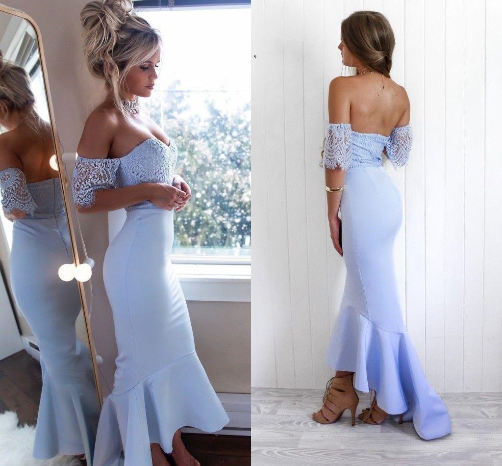 밝은 하늘색 높은 낮은 낮은 새틴 인어 긴 신부 들러리 드레스 짧은 소매 레이스 탑 여신상 신부 들러리의 결혼식 BM0934